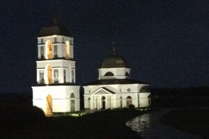 Design and front lighting of the Transfiguration Church (Gusynets).